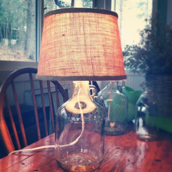 Build a glass bottle lamp.
