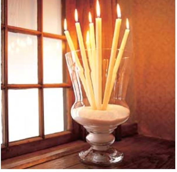 All you need to do is put sand or even pebbles in a vase, which you can get both at a dollar tree for cheap, and add candles.