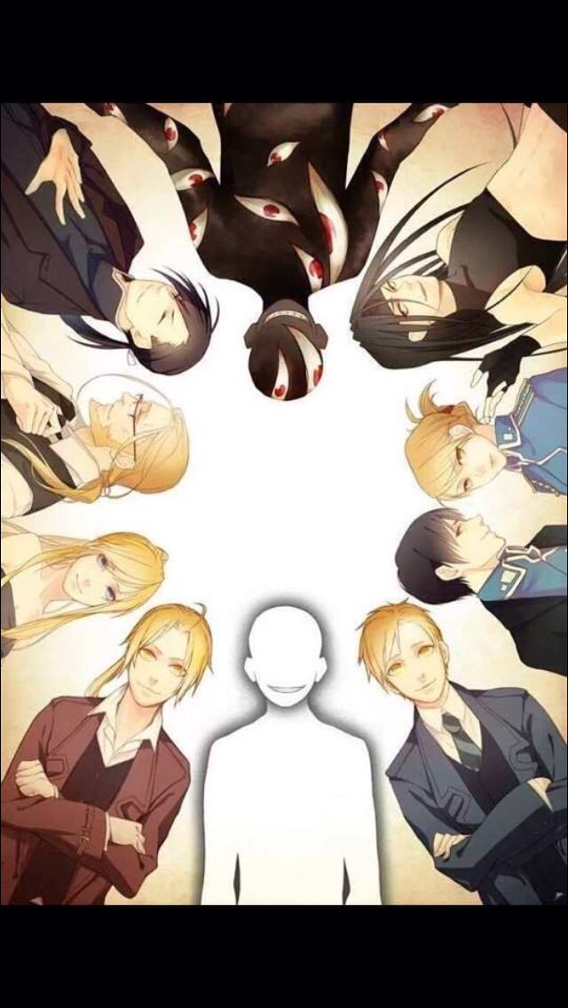 Fullmetal Alchemist (clockwise: Edward, Winry, Edward and Alphonse's father, Ying, ??? ((Sorry I dunno what it's called)), Envy, Lieutenant Hawkeye, Lieutenant Colonel Mustang, Alphonse)