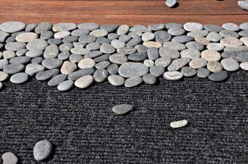- River rocks -industrial strength glue - Cheap welcome mat