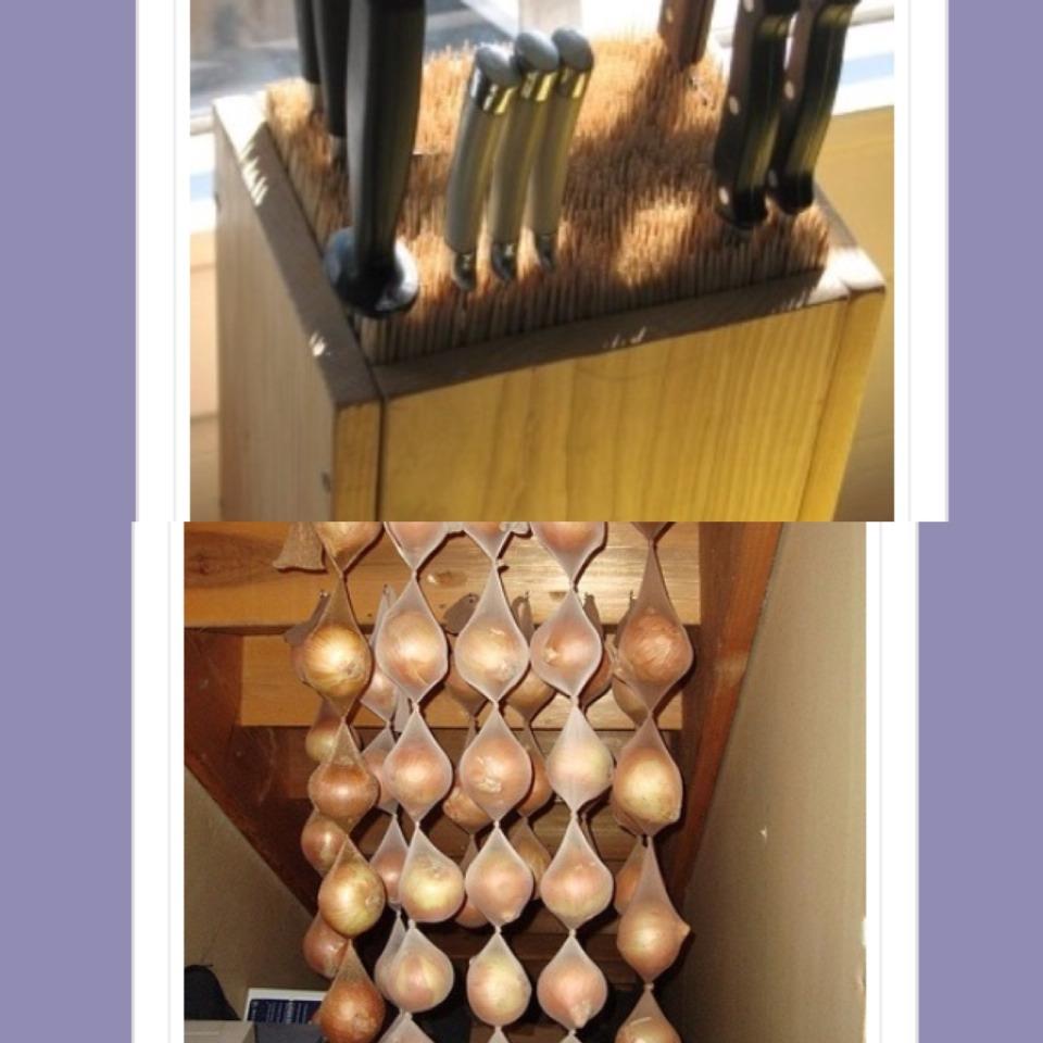 15. Fill an old box with skewers to make an all purpose knife box.  16. hang onions in cut up tights to make them last for months