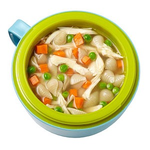 Soup (heat rotisserie chicken, broth, pasta, and veggies for 15 minutes)  Animal crackers  Raspberries
