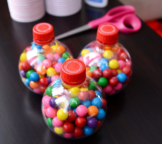 Fill your Coca-Cola bottle with gumballs.
