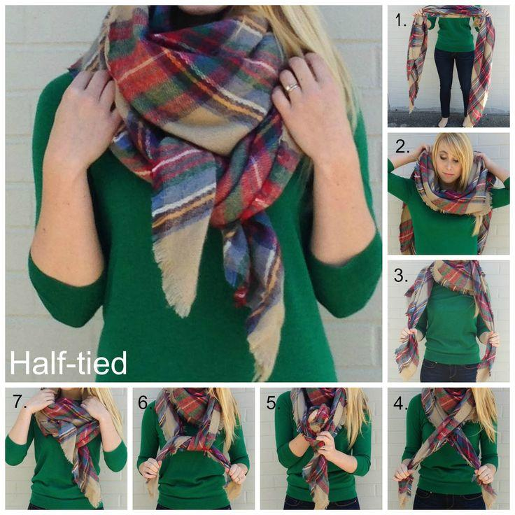 9.Half-Tied This half-tied scarf tutorial is perfect if you have a huge scarf. It's comfortable and will really give you warmth.