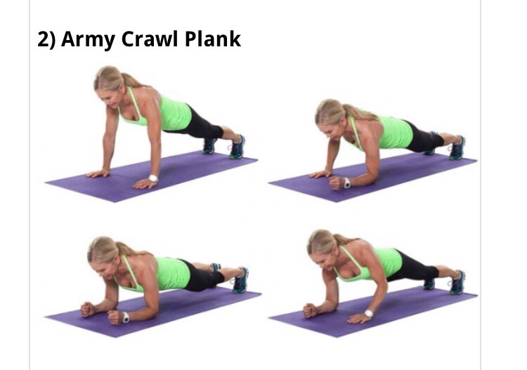 •Start in a plank position with your shoulders over your wrists. •Bend your left arm and then your right to get into forearm plank position. •Lift your left and then right hands again to lift back up into plank position.
