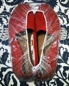 Place shoes in a shower cap so they won't get damaged by anything in your suitcase, and vise versa.