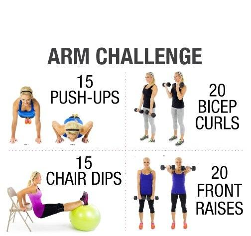 Day 6: The Arm Challenge  Let's work your arms in this challenge! Be sure to do every part of the arm challenge and you just might be able to lift those groceries a little bit easier next time.