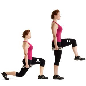 MOVE 2 Front Lunge Push-Off  SETS: 3REPS: 12 to 15REST: 30 seconds Works core, glutes, hamstrings, quads, and calves