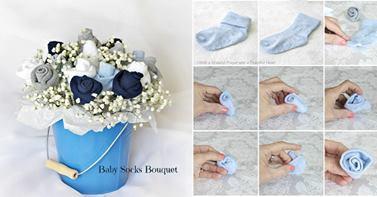 http://www.goodshomedesign.com/baby-socks-flower-bouquet-tutorial/