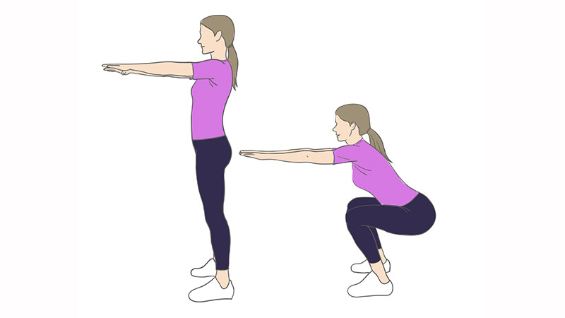 4.) You want to get a nice booty too? For 1 minute, do squats with an angle of 90 degrees. This will give your butt a lift and make it muscley.