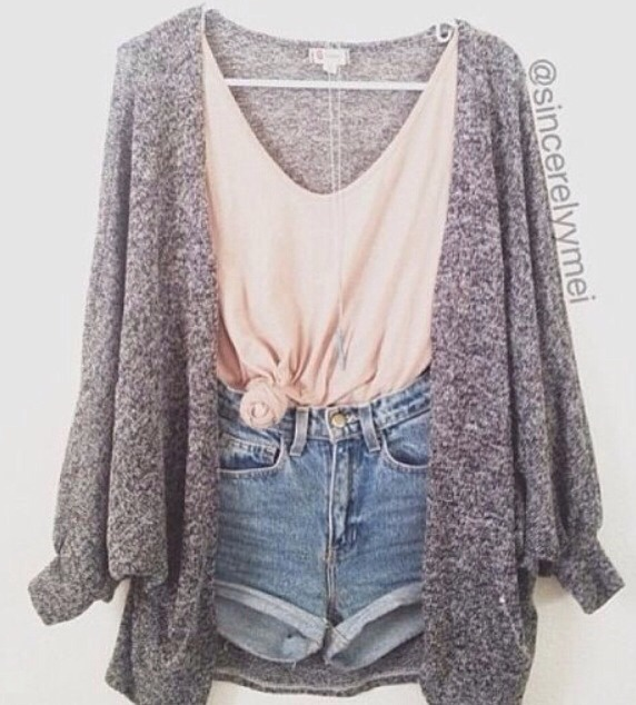 For the colder summer nights throw a cardigan over your usual summer outfit to go for the comfy, cute look.