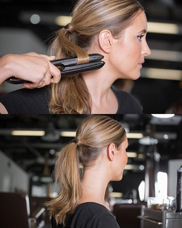 8. You can also use your flat iron to make your ponytail look more interesting: