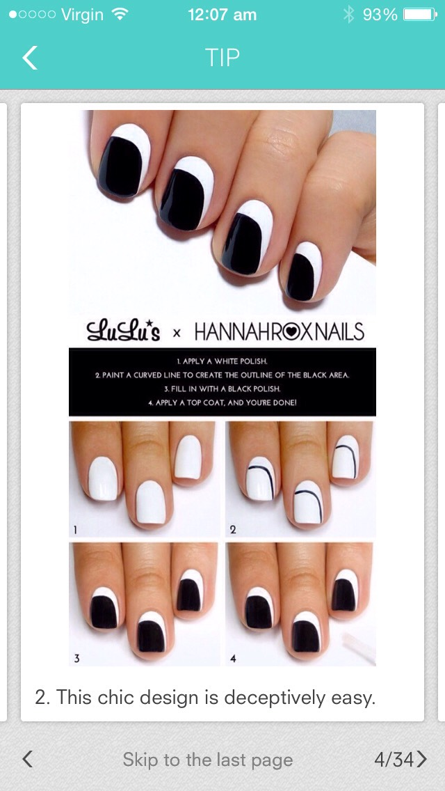 If you can't read the caption on the image then it's here: 1. Apply a white base polish. 2. Paint a curved line of black to create the outline of the black area. 3. Fill in with a black polish. 4. Apply a clear polish over the whole nail. Your done! Enjoy💖