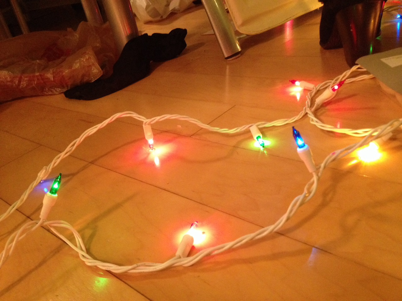Get some Christmas lights, colored ones work best
