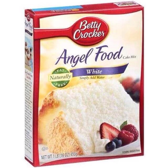 First, you'll need some angel food cake mix. Pour into a large bowl.