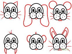 4) Give your animal ears, whiskers, or teeth if you wish. For example, the bear has a bow in the illustration.