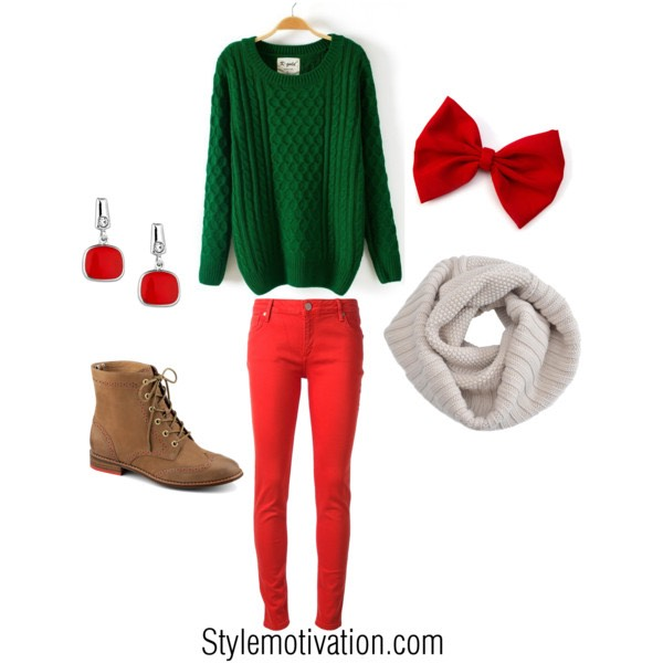 This outfit is with any green sweater and pear it up with red jeans and any scarf and this picture is a White one and combat boots and a Red bow and red earings