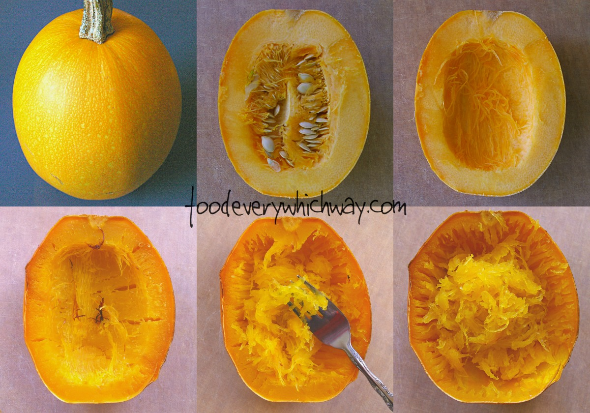 Bake spaghetti squash at 350 (depending on your elevation) for 45 minutes. Take a fork and extract the meat of the squash. It looks and tastes like noodles. Plus, it's really good for you!!!