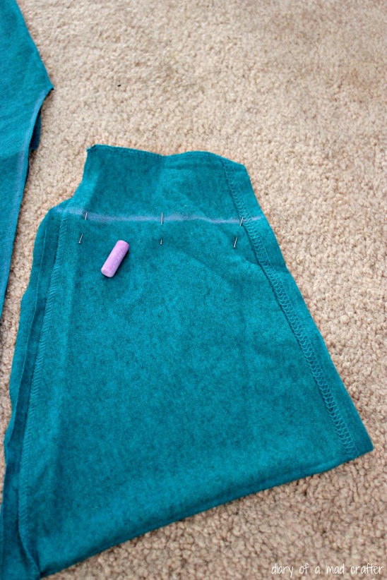 I marked, pinned, and sewed (but forgot to get a picture of that!) about 2 inches up. This is where MY armpit would be (with a little room to breath, of course!) I measured this, by simply putting the sleeve on my arm (duh).