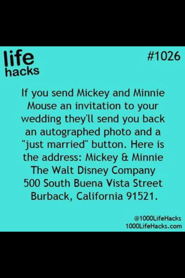 Send Your Wedding Invitation To Mickey And Minnie Mouse They Will You An Autograph