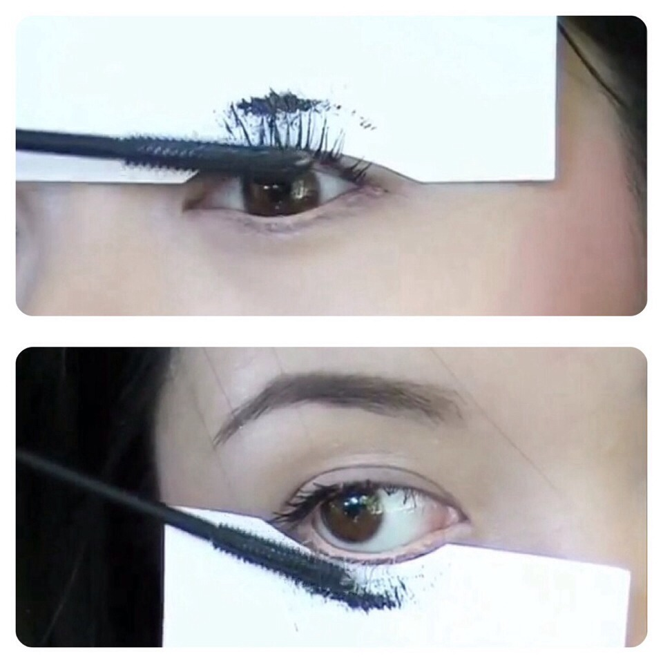 18. Use a index card to apply mascara