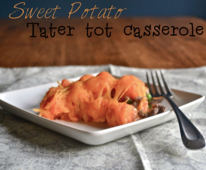 I thought that I would attempt to make a tater-tot casserole that was healthier and tastier, thus, using Sweet Potato tater-tots.
