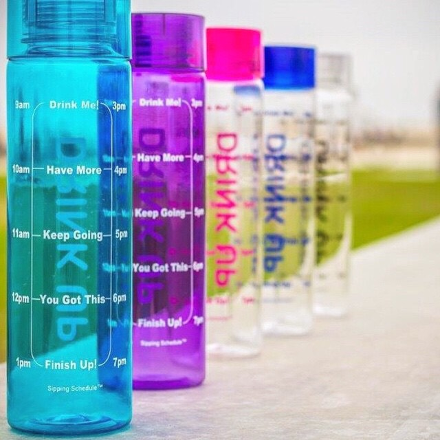 T I P- buy a few R E F F I L A B L E water bottles and keep one at H O M E, one at  W O R K or S C H O O L and where ever else you may be!  Fill it with I C E and W A T E R  and drink, drink, drink!