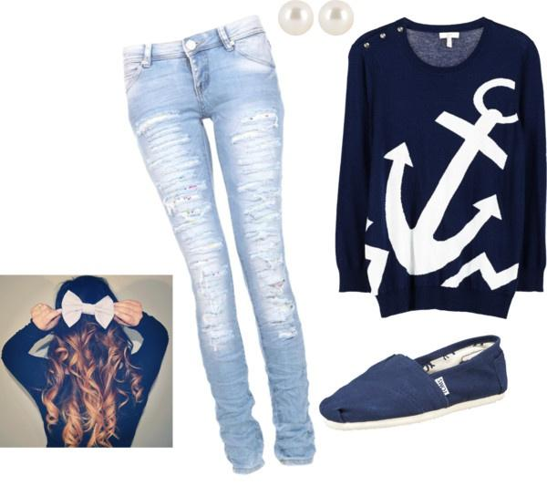 super cute navy blue anchor shirt with matching shoes bows and earrings