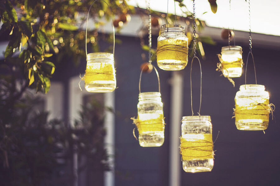Hanging Lantern idea! Super cute! Supplies needed: mason jar, flame less candle, ribbon, and something to hang it
