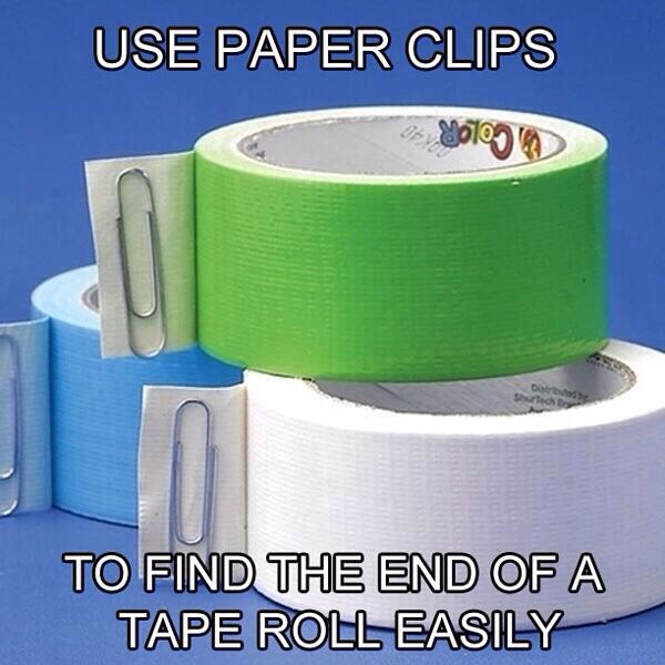 Use paper clips to find the end of a roll of tape.