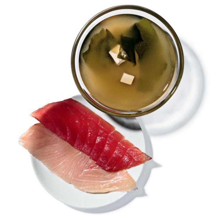 1 OZ YELLOWTAIL AND 1 OZ TUNA SASHIMI WITH 1 PACKET KIKKOMAN INSTANT TOFU MISO SOUP Have it pre-party: The protein will keep you from wiping out the buffet.