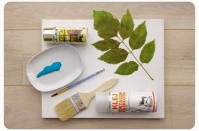 Materials: canvas, paint, spray paint, leaves, paint brushes