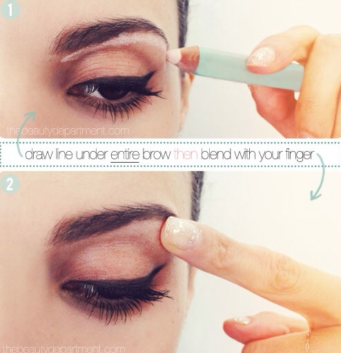 Sweep a light pink matte pencil across the entire length of your brow bone to create the illusion of a higher arch, and then blend, blend, blend! It should not be detectable.