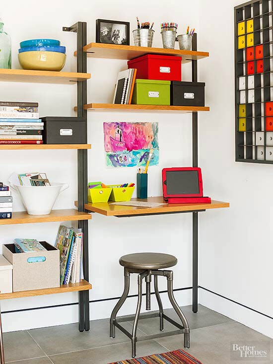 Rely on Double-Duty Furniture Pieces that can work in a variety of ways are a great fit for small-space storage. Home offices, for example, may be difficult to create out of limited square footage, but strategically placed bookshelves -- even those out in the open -- may offer practical & beautiful