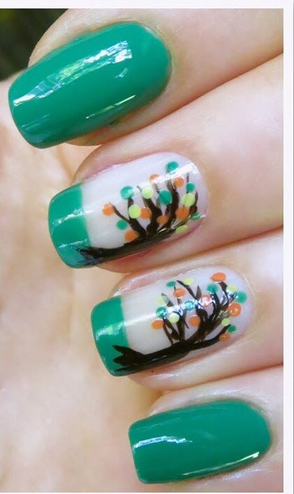 Green squaretips and cute tree art