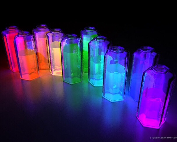 Glow sticks in jars filled with water