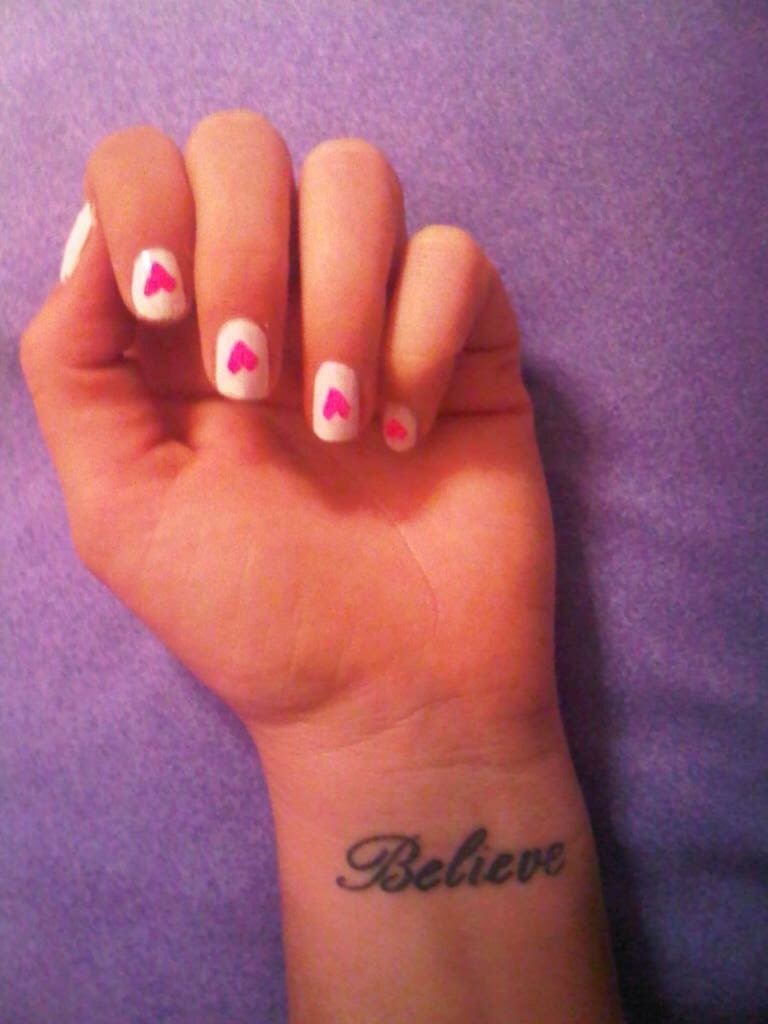 Beautiful Heart Nails Anyone Can Do! It's Really Easy<3 You Need: ~Painters Tape  ~Two colors of Nail Polish ~Top Coat (Optional)