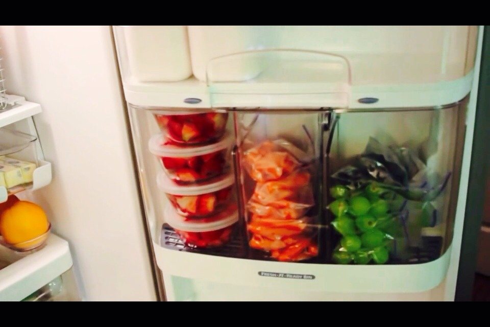 Wash and dry fresh fruits and veggies  Keep cut up fruit in glass containers and uncut fruits and veggies in individual sandwich bags (this makes it easy to grab for kids/spouses lunches, for snacking, or on-the-go)
