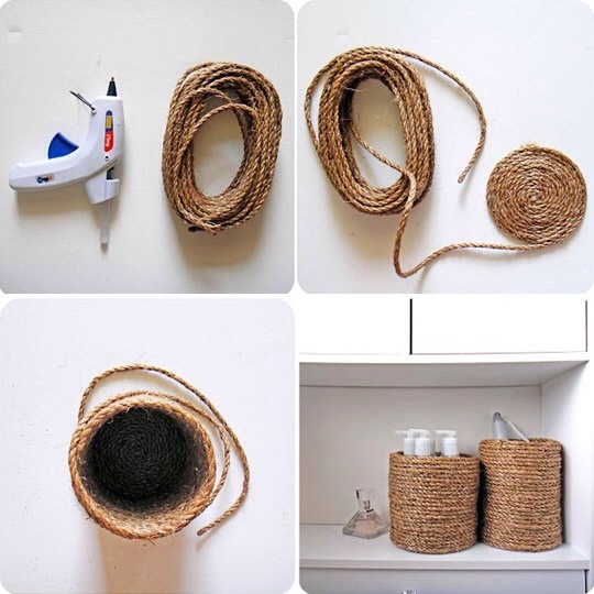 Decorate jars with a rope
