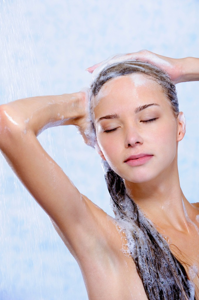 Take your shampoo and gently massage it in your scalp.