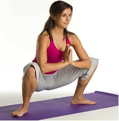 3. Deep squats: This yoga exercise for thighs works wonders!
