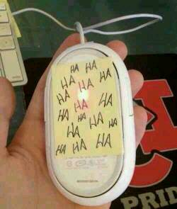 Put a post it note on the bottom of a mouse