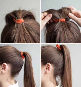 2. Insert bobby pins into your ponytail holder vertically to prop up your ponytail. Once you've put your hair in a ponytail, insert two or three bobby pins halfway inside the elastic and facing downward toward the crown of your head. Fluff your ponytail and flip it over for a fuller look.