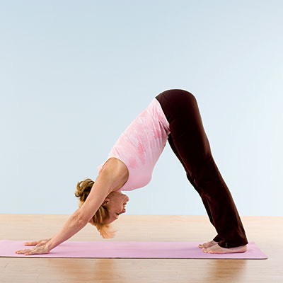 DOWNWARD DOG: Position yourself on your hands and knees, with your hands slightly in front of your shoulders and your knees directly beneath your hips. Spread your fingers out and tuck your toes under.