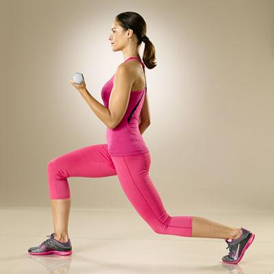 Bicep curl with alternating lunge  Trainer tip: Keep your upper arms close to your sides throughout the curl.
