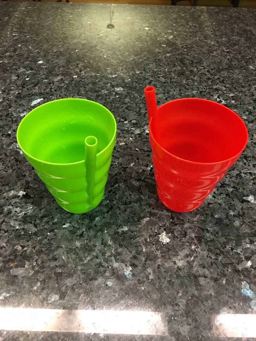 Cups with permanent straws. I use these cupsto servemy toddler soups. She still has a hard time controlling her spoons to eat soups. I found these cups at the Dollar Tree.