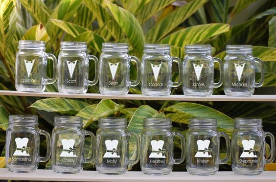 Send them off with customized mason jars