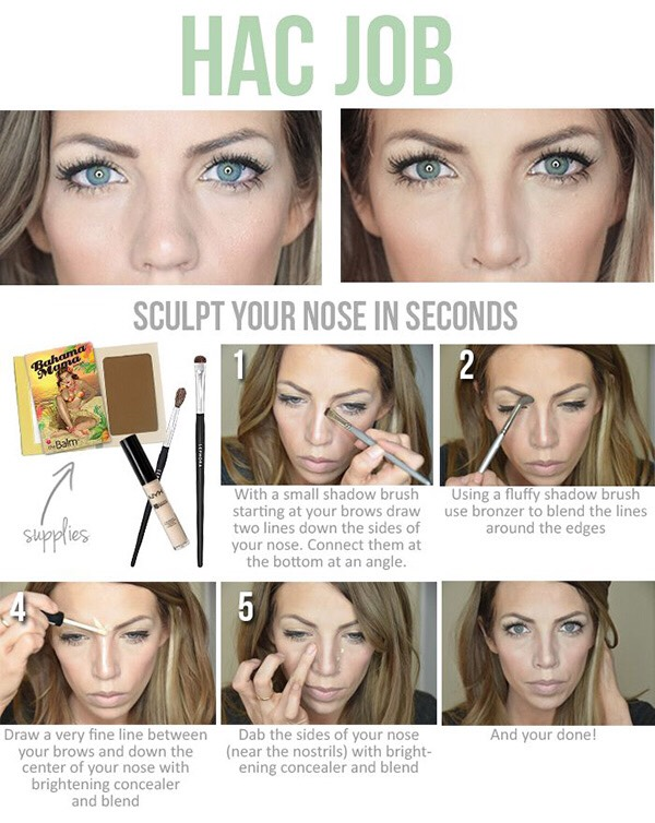 18. This trick for making your nose appear smaller and more slim is super popular. It's also pretty easy to duplicate