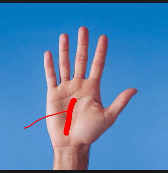 This is the sun line. It can be a tricky spot to find, if it is easy to see, you're likely to be sensitive. It it's long and runs all the way down to your wrist, this means you are independent and good at getting things by yourself.