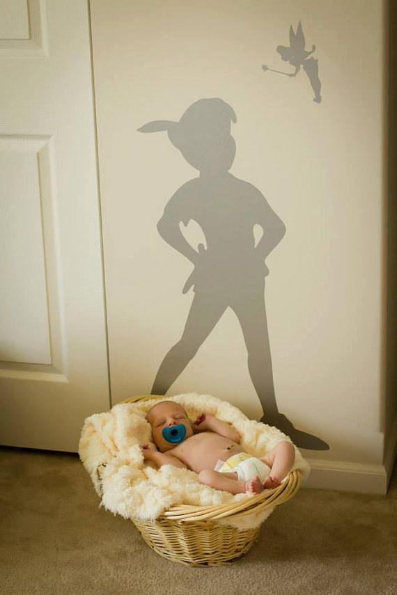 1. Stick a decal of Peter Pan's shadow on the wall.